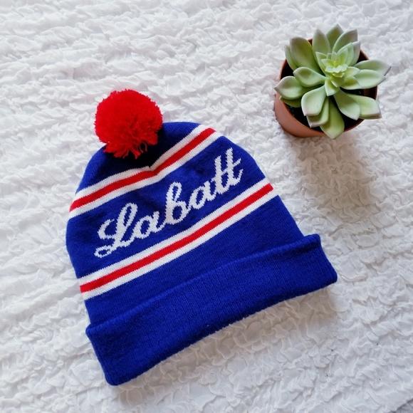 Labatt Beer Knit Beanie with Pom Pom   Stripes e3dab51007aa